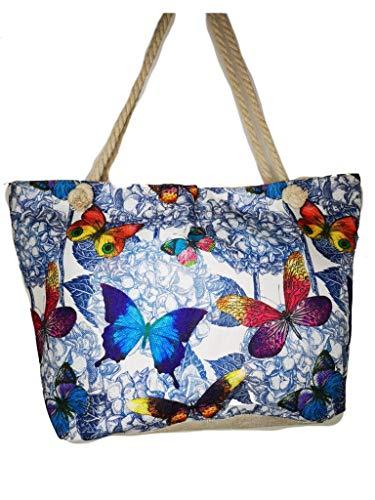 Einkaufstasche, Leinen, Strandtasche XL 60x40x20cm Shopper Reisetasche Yoga Mandala Tasche Sporttasche Sommer Schmetterling (1)