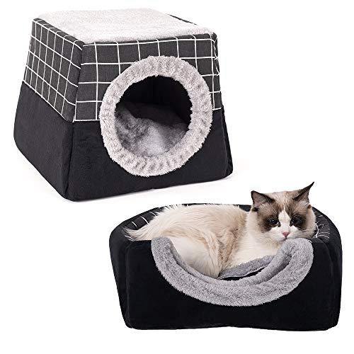 Lifemaison Katzenhöhle 2 in 1 Katzen Haus Haustierbett mit abnehmbarem Kissen Katzenbett Faltbar Haustier Schlafsack Komfortabel Sofa Bett(Schwarz,40 × 38 × 34 cm)