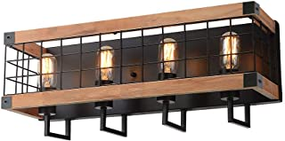 Anmytek Rectangle Wood Wall Lamp with Iron Mesh Cover Industrial Wall Sconce Black Finish Vintage Stylish Bathroom Lighting Log Cabin Home Retro Edison Sconce Lighting Fixtures 4-Lights (W0046)