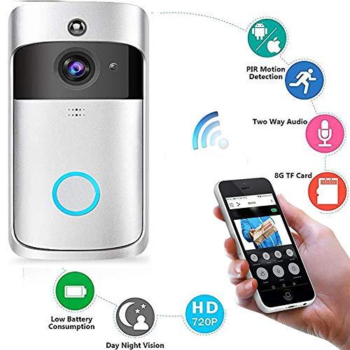 FLOUREON Sonnette de Porte Vid/éo 720P HD WiFi sans Fils Interphone Doorbell Imperm/éable D/étection de Mouvement PIR Vision Nocturne Vid/éo Bidirectionnelles App pour iOS et Android