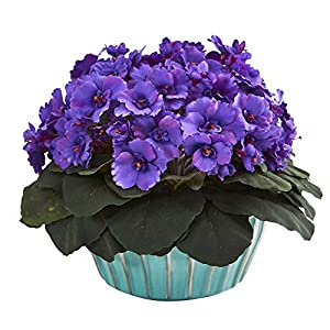 Nearly Natural Mini 9in. African Violet Artificial Turquoise Vase Silk Plants, Purple