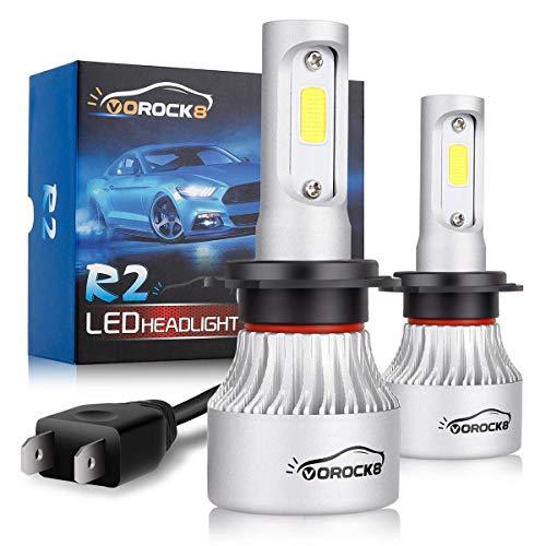 VoRock8 R2 COB H7 8000LM LED Umrüstsatz, Fernlicht oder Abblendlicht, Nebelscheinwerfer, Ersatz für Halogenlampen, 6500K Xenon-Weiß, 1 Paar