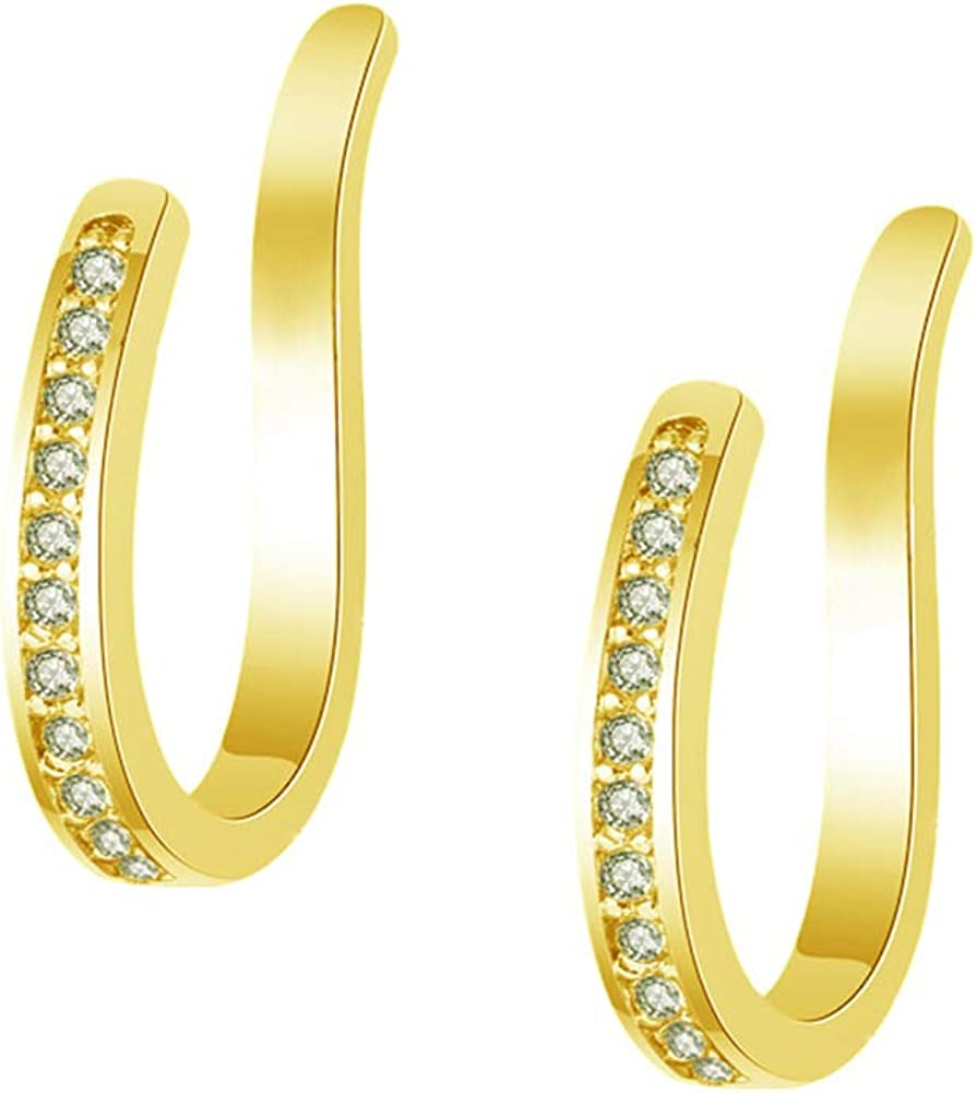 DUOC Irregular Tiny Rainbow Flash Moon Star Small Gold Hoop Earrings For Women