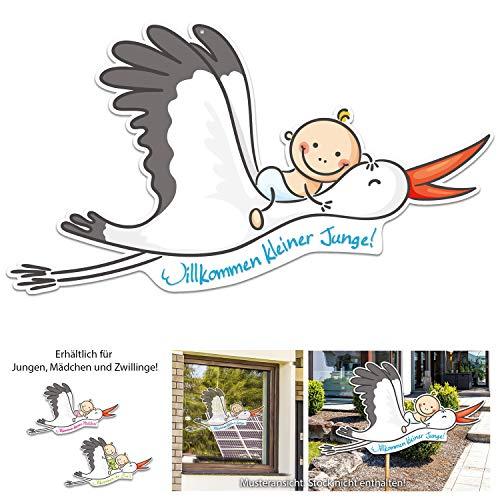 Willkommen Baby - Junge - und Mama. Großer Storch mit Baby, 67 cm breit. Wunderschönes Geschenk zur Geburt. Zum Aufhängen an Fenster, Tür oder zum Stecken draußen im Garten. (Blau)