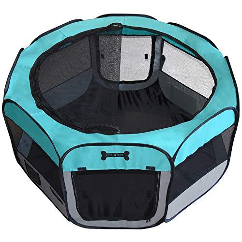 MC Star Oxford Enclos Pliable Grand Parc pour Animaux (Chien,Chiots, Chats, Lapins, Cochons d'Inde) pour l'intérieur ou l'extérieur,125 x 125 x 64cm,Vert