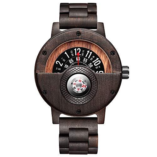 Gorben Kompass Plattenspieler Herren Holzuhr Rindsleder Armband handgefertigte Naturholzuhren Quarz Sportuhr Geschenkbox (Gorben-273-2)