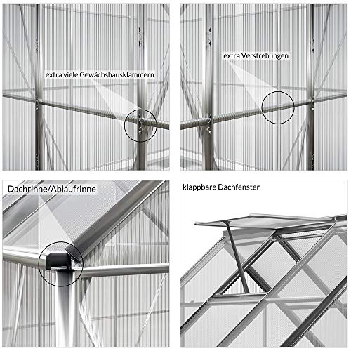 Deuba Serra da Giardino in Alluminio 5,85m³ 190x195cm Piante pomodori Cassetta Esterno orto