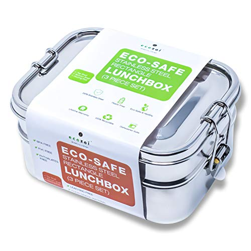 Ecozoi LEAK PROOF Stainless Steel 3in1 Eco Lunch Box Bento Boxes | REDESIGNED Silicone Seal  BONUS Lunch Pod | Sustainable Tiffin Eco Friendly Metal Bento Box Food Storage Containers