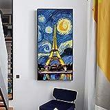 Noche estrellada con la torre pinturas en lienzo arte moderno paisaje pared arte impresiones Cuadros para decoración de sala de estar 35x70 CM (sin marco)
