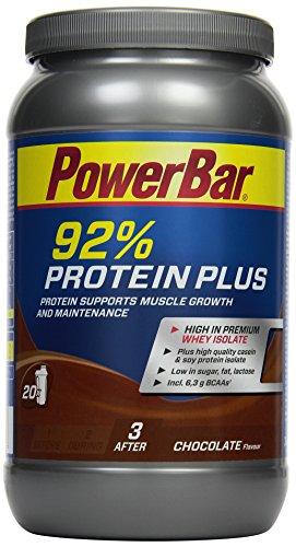 PowerBar Whey, Casein & Soja Eiweißpulver – Protein Plus 92% – Mehrkomponenten Protein Shake mit Aminosäuren (BCAA) – Proteinpulver – Schokolade (1x 600g)