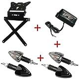 Compatible con Yamaha XT 660 X Kit para moto portamatrículas de aluminio deportivo universal no específico + 2 pares de intermitentes con bombilla + luz de matrícula homologada Lampa