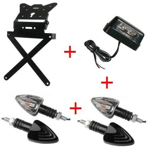 Compatibel met de Derbi Terra 125 kit voor motorfiets, aluminium, sportief, universeel, geen spiegels, 2 koplampen en lampen.