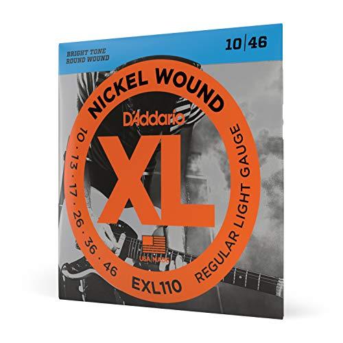 D'Addario Saiten für E-Gitarre |INDUSTRY STANDARD MADE IN USA | EXL110 | vernickelter Stahl | Regular Light (10-46)