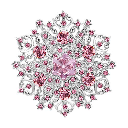 EVER FAITH Spilla Cristallo Austriaco Elegante Fiore Grappolo Foglia Spilla Rosa Argento-Fondo