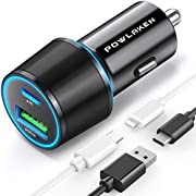USB C Car Charger, Total 36W Dual Type C PD Car Charger with 18W PD & QC 3.0 Fast Car Charger Adapter Compatible with iPhone 12/12 Pro Max/11Pro/11/Samsung/iPad and More
