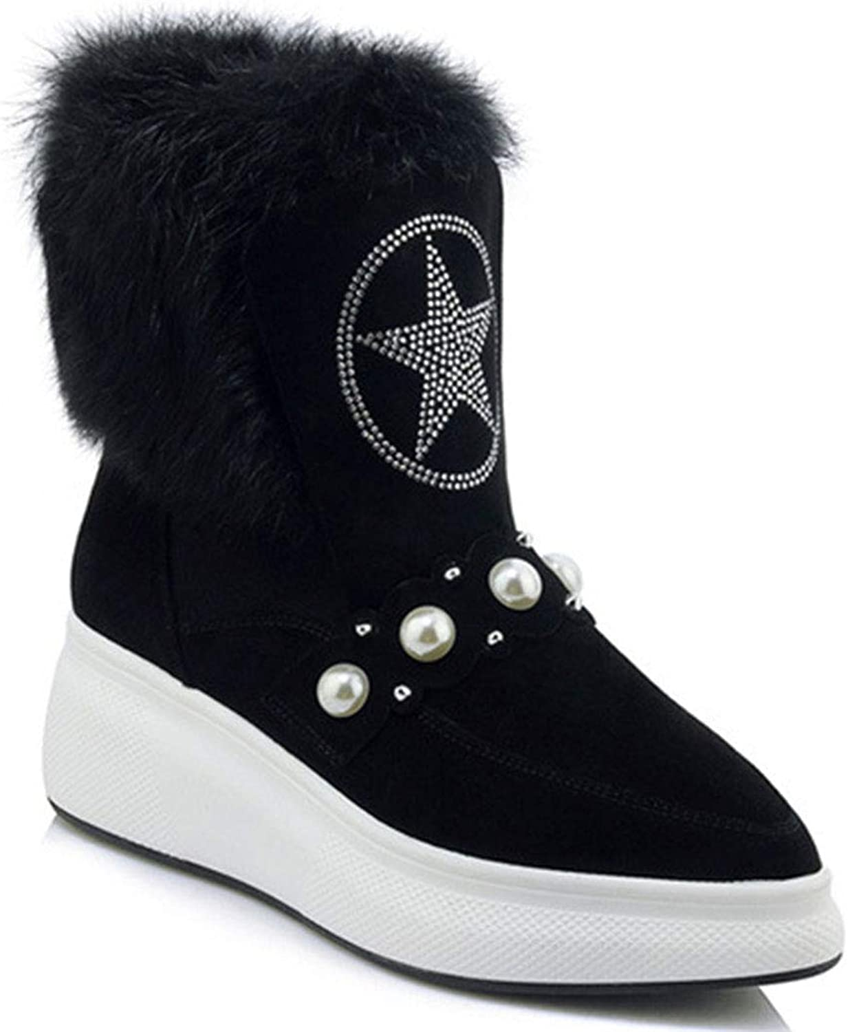 Women's Winter Snow Boots Leather Pointed Wedge Heel Boots Pearl Decorative Fluff Waterproof Platform Casual Fashion Boots