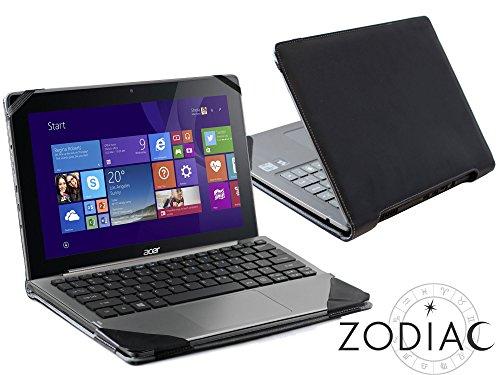 Navitech schwarzes Premium Portfolio Leder Case/Cover Trage Tasche/speziell für das Acer Aspire Switch 11 V SW5-173
