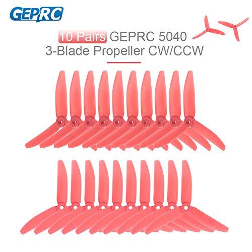 Goolsky 10 Pairs GEPRC 5040 5in 3-Blatt Propeller Triblade Requisiten für FPV Racing Quadrocopter QAV210 250 Drohne