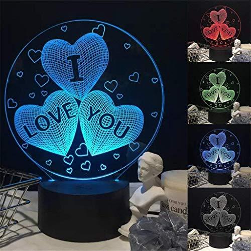 BIEE Ti Amo Cuore LED Lampada da Comodino 3D Illusion Luce Notturna Regalo di San Valentino