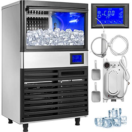 VEVOR 110V Commercial Ice Maker155LBS/24H with 44LBS Storage Stainless Steel 5x11Ice Tray LCD Control Auto Clean w/Water Drain Pump for...