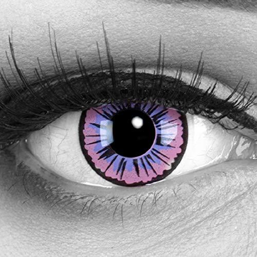 Funnylens 1 Paar farbige lila violette purple Crazy Fun Jahres Kontaktlinsen Purple Fee mit schwarzem Rand perfekt zu Fasching, Karneval und Halloween, Halloween. Mit gratis Linsenbehälter!