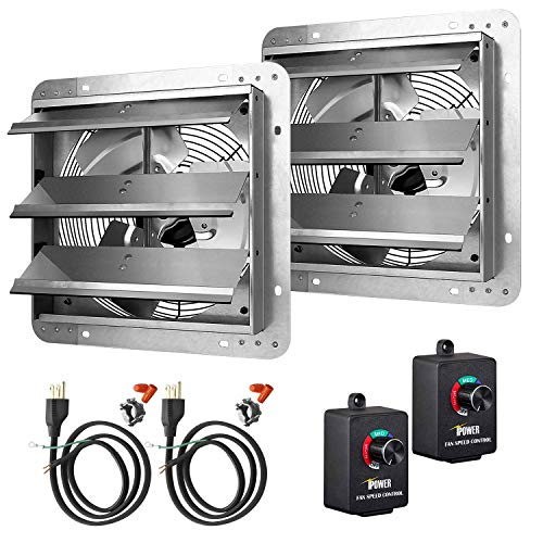 iPower 12 Inch Variable Shutter Exhaust Fan Aluminum with Speed Controller and Power Cord Kit, 1620RPM, 1600 CFM, 2-Pack, Silver