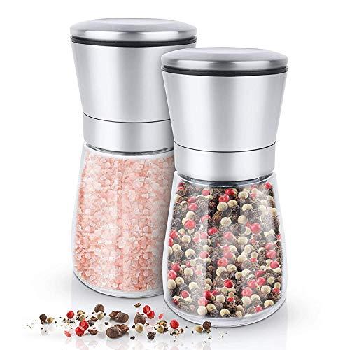 Juego de molinillo de sal y pimienta - Juego de molinillos de pimienta con aspereza ajustable, agitadores de cuerpo de vidrio y acero inoxidable cepillado, 2 piezas