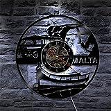 ROMK Relojes de Pared, Reloj de Pared de la República de Malta, Reloj de Pared con Disco de Vinilo Vintage, Reloj de Pared Europeo, Turismo, Regalo de Viaje, Recuerdo, República de Malta