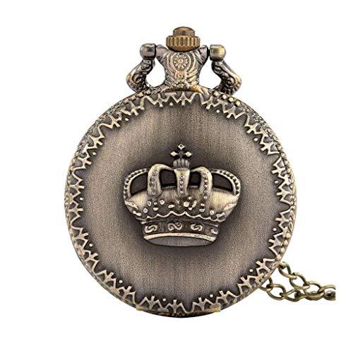 XXCHUIJU Pantalla de Corona Collar de Bronce Colgante Bolsillo Reloj suéter Cadena de Bolsillo Bolsillo colección Relojes Antiguos Regalos Hombres Mujeres niños