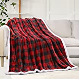 Sherpa Fleece Fuzzy Throw Blanket, Buffalo Plaid Cozy Fluffy Throws Blankets for Couch Soft Twin Christmas Red Bedding Sofa Flannel Plush 50'x60'
