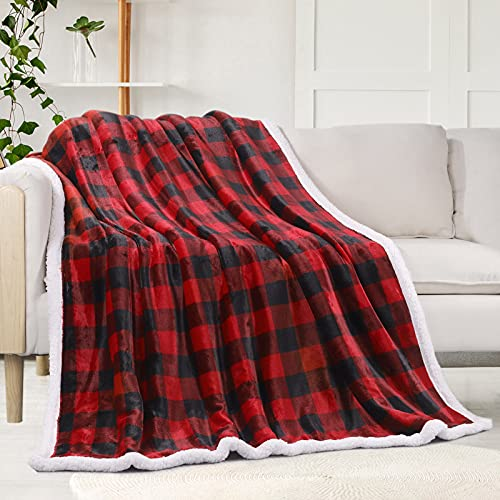 """Sherpa Fleece Fuzzy Throw Blanket, Buffalo Plaid Cozy Fluffy Throws Blankets for Couch Soft Twin Christmas Red Bedding Sofa Flannel Plush 50""""x60"""""""