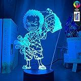 Roronoa Zoro - Lampada da tavolo con illusione 3D, luce notturna a LED, per bambini, decorazione USB, idea regalo per bambini