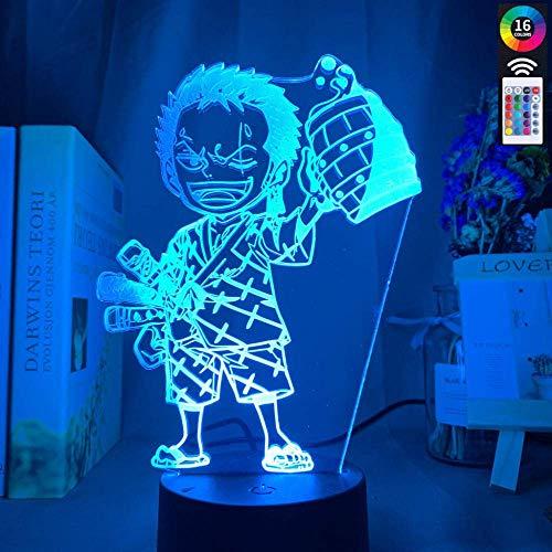 3D Illusionslampe - Lámpara LED de anime Einteiler, diseño de roronoa zoro für Kinder Schlafzimmer