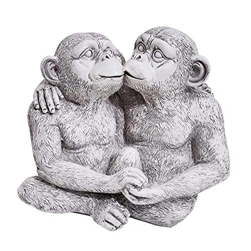 MagiDeal Resina Monos Besos Estatua de jardín Lindo Resina Animales Ornamentos decoración para casa Oficina Entrada césped, Patio, Cubierta