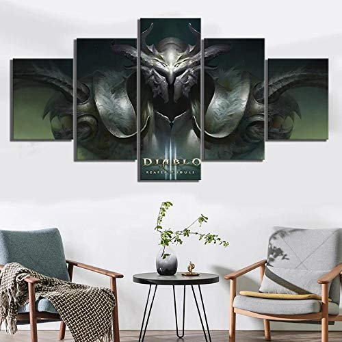 Horned Warriorwall Pictures for Living Room 5 Modern Stretched and Framed Artworks for Living Room Bedroom Painting Home Decoration-150Cm X 80Cm