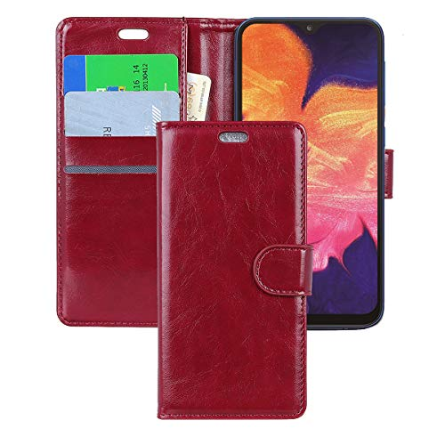 Galaxy A50 Case,CSTM Protective Folio PU Leather Wallet Phone Shell Cover with Credit Card Slots,Cash Pocket,Stand Holder,Magnetic Closure for Samsung Galaxy A50/A50s/A30s 2019(Red)