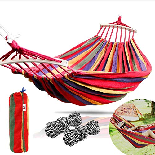 CJ Ultra Outdoors Cotton Fabric Canvas Travel Hammocks with Tree Straps 450lbs Ultralight Camping Hammock Portable Beach Swing Bed with Hardwood Spreader Bar Tree Hanging Suspended Outdoor Indoor Bed