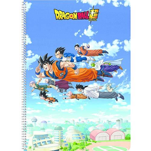 Clairefontaine 812801C - Cuaderno de espiral de Dragon Ball Super formato 21 x 29,7 cm, 100 páginas con rayas, tapa sólida visual aleatoria