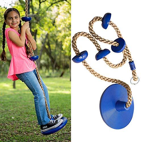 Huike Kletterseil mit Knoten, Kinder Klettern Schaukel Schaukelseil mit Sicherheit Basis Sport Spielzeug Draußen hängender Baum Scheibe Schaukel (Blau)