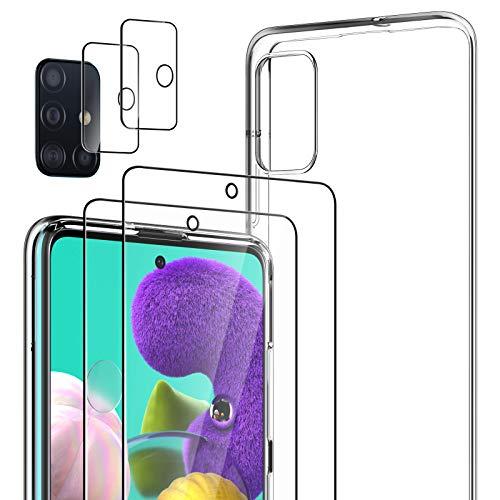 LK Kompatibel mit Galaxy A51 Hülle, 2 Displayschutz Schutzfolie & 2 Kamera Schutzfolie, 9H HD Klar Displayschutz Blasenfrei, Weiche TPU Silikon Case Cover - Transparent