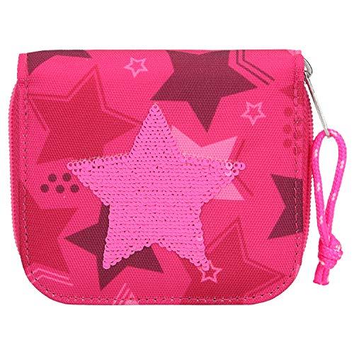 Depesche 10719 Portemonnaie, TOPModel Stern aus Streichpailletten, pink, ca. 3 x 12 x 10 cm