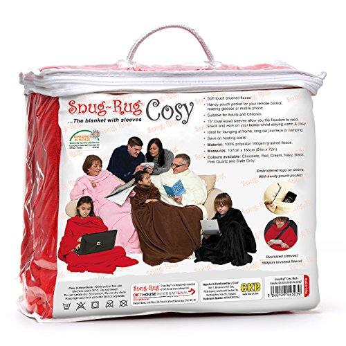 Snug Rug Cosy, couverture en molleton avec des manches et une pochette de poche pratique - rouge
