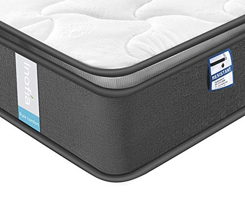 Inofia Memory Foam Pocket Sprung Mattresses Pressure Relief with Zoned Support 9.5Inch Depth-100 NIGHTS TRIAL-(Airy breathable+Memory foam