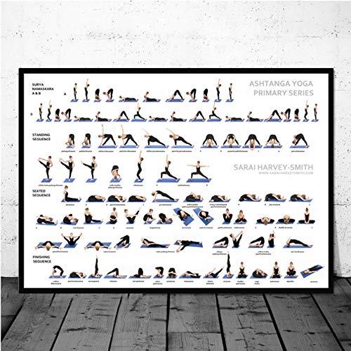 DIARQT Cuadros Decorativos Cartel Caliente Yoga Ashtanga gráfico Pose Ejercicio en casa Gimnasio Salud Pared Arte Lienzo Pintura Cuadros de Pared para Sala de Estar decoración del hogar-24x32inch