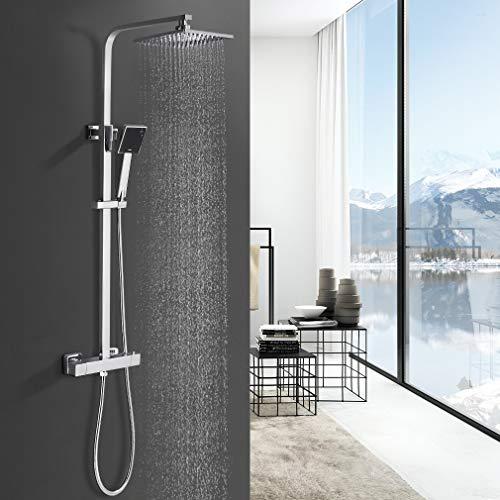 BONADE Duschsystem thermostat regendusche Duschset mit Brausethermostat- mit Regenbrause, Handbrause und Brausearm | Befestigungspunkt ca. 30 cm höhenverstellbar