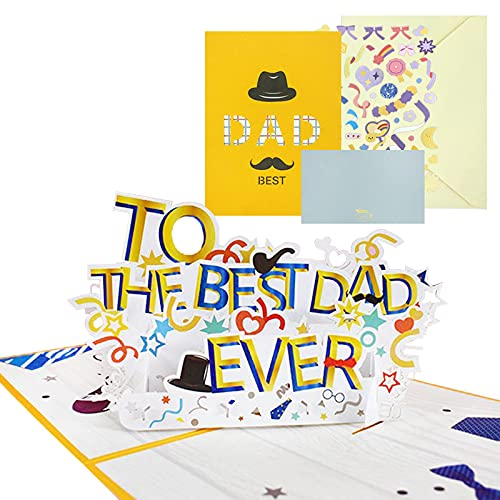 MEPLUM Pop up Fathers Day Card, Fathers Day Card from Daughter Son Wife, 3D Happy Fathers Day Card, Dad Birthday Card Pop up Greeting Card with Envelope