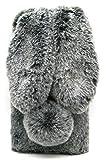 3C Collection Fundas Samsung S9 Conejo Peludo Negro, Fundas Galaxy S9 Mullido Pom Pom, Rhinestone de Bling Velloso Pelo de Conejo Fundas para...