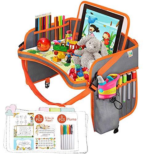 Bandejas de asiento para niños, bandeja de viaje de coche bandeja de viaje para niños para automóvil/cochecito/avión