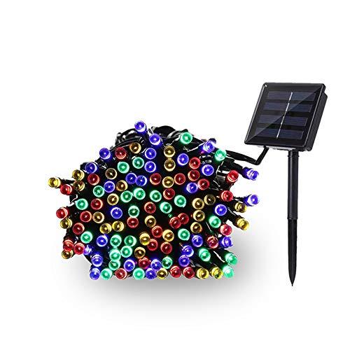 Winbang Luces de jardín, 100-LED 8 modos Luz de cadena LED solar Luces estrelladas Impermeable Festival Jardín Luces de hadas para árbol Patio Boda Fiesta Decoración navideña (Colorido)