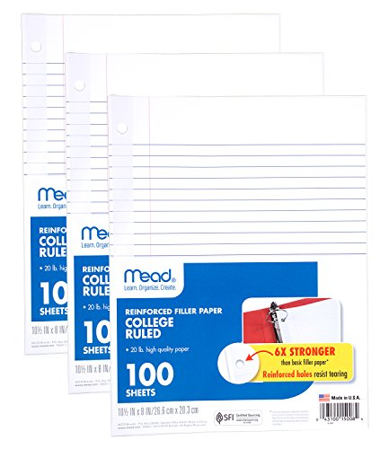 """Mead Loose Leaf Paper, Filler Paper, Reinforced, College Ruled, 100 Sheets, 10-1/2"""" x 8"""", 3 Hole Punched, 3 Pack (38037)"""